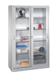 image of storage cabinets with glass doors white color design