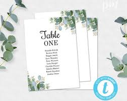 Ophelia S Seating Chart Greenery Seating Chart Template Wedding Table Cards