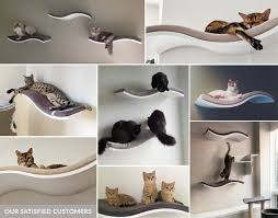 wood wave cat shelf wall mounted curvy