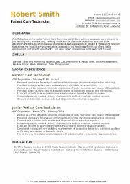 Nurse Technician Resumes Patient Care Technician Resume Samples Qwikresume