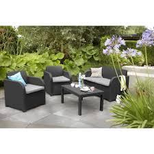 allibert carolina lounge set graphite with grey cushions