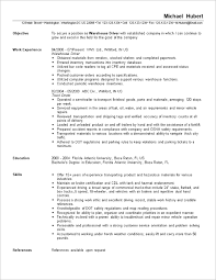 Resume Sample: Warehouse Worker / Driver. warehouse examples -  Templates.memberpro.co
