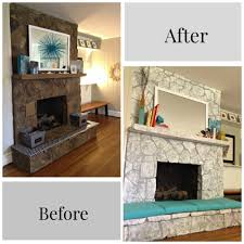 Painting a Stone Fireplace/ Before & After/ By Paper & Fox. Painting a Stone  Fireplace/ Before & After/ By Paper & Fox