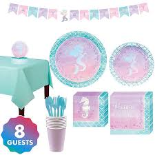 Shimmer Mermaid Basic Party Kit for 8 Guests Supplies - Birthday | City