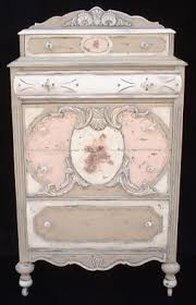 tropical painted furniture. tan and pink cabinettop dresser with splashboard a whole page of well painted ornate furniture tropical e