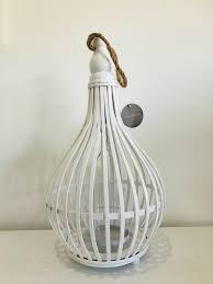 white round wooden bulb lantern