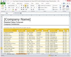 Free Sales Forecast Template For Excel 2013 With Editable