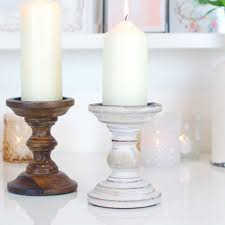 chunky white washed bleached wood vintage effect candlestick