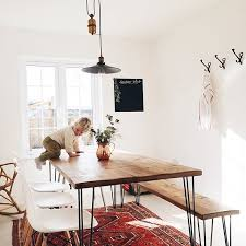 dining room table with bench seating. hairpin leg table and bench with modern chairs! my dream set up! dining room seating
