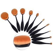 leaningtech professional 10pcs soft oval toothbrush makeup brush sets foundation brushes cream contour powder blush concealer brush blending face eye makeup