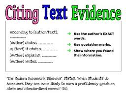 Citing Evidence Anchor Chart Citing Text Evidence Anchor Chart