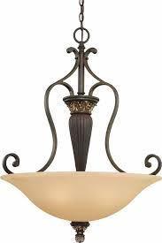 bristol 3 light vintage bronze with antique gold bowl shaped pendant