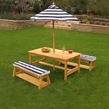 kidkraft outdoor table and chair set with cushions and navy stripes details can