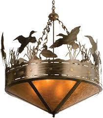 meyda 32133 ducks in flight country antique copper amber mica ceiling light pendant loading zoom
