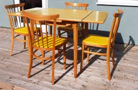 retro formica extending table and 4 chairs draw leaf tables 1960s yellow