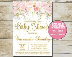 Gold Baby Shower Invitation template, Editable, Girl Baby Shower Invitation  Blush Pink flowers &