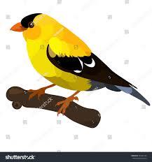 Yellow Bird Design Vector Flat Illustration Little Yellow Bird Stock Vector