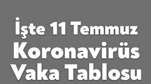 11 Temmuz Koronavirüs Tablosu - Bağımsız Kocaeli