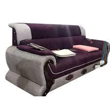 grey purple velvet fancy three seater