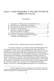 essay food democracy and the future of american values essay  what is heinonline