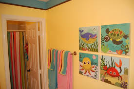 bathroom colors yellow. Bathroom:Amusing Soothing Color Kids Bathroom With Yellow Wall Paint Ideas Plus Animal Graphic Colors M