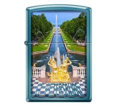 <b>Зажигалка Zippo</b> «<b>Петергофский</b> фонтан» с покрытием Sapphire ...