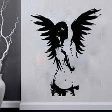new angel wall art small home remodel ideas arrival diy angel sticker giant banksy guardian bedroom decal fairy vinyl stickers sculptures decor uk
