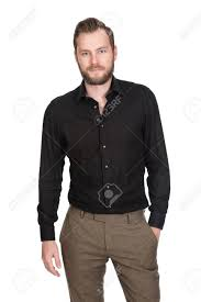 Pants Shirt Handsome Man Wearing A Black Shirt And Brown Pants Hand In Pocket