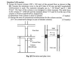 Ground Floor Slab Design Question 3 20 Marks 3 Design The Braced Column