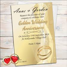 10 Personalised Golden 50th Wedding Anniversary Invitations N5