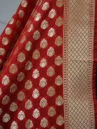 Small Buti Design Banarasee Art Silk Dupatta Small Buti Design Red