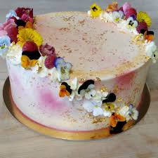 Lemon Raspberry Cake With Edible Flowers And Gold Leaf Baking