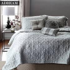ADREAM Faux Silk Cotton Bedspread Coverlet Quilt Grey Quilted ... & ADREAM Faux Silk Cotton Bedspread Coverlet Quilt Grey Quilted Bedspreads  white Stitching Comforter Queen King bed Adamdwight.com