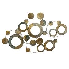 stratton home decor metal metallic circles wall decor multi
