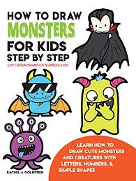 monster creature drawings easy. How To Draw Monsters For Kids Step By Easy Cartoon Drawing Beginners Learn Cute And Creatures With Letters Numbers On Monster Creature Drawings