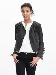 banana republic black fringe leather biker jackets fringe leather moto jacket