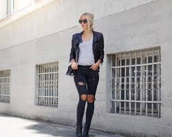 outfit black ripped jeans zara leather jacket streetstyle