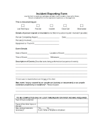 Incident Report Forms Templates Free Throughout Reporting Form
