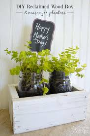 make an easy reclaimed wood box with mason jar planters for a fun mother s day gift