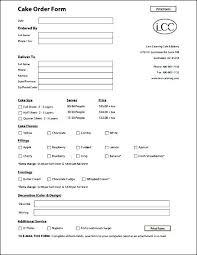 Cake Order Form Templates Sample Free Custom Template Jewelry