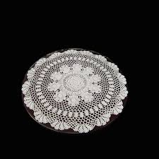 60cm crochet vintage knit retro decorative hook engraving flower weaved knitted round tablecloth hand made