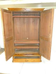 Antique Country Pine Armoire Wardrobe Provincial Wrought Iron