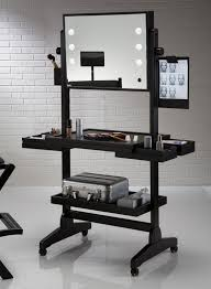 innovative black portable makeup vanity set with mirror and sophisticated lights wonderful ideas of black