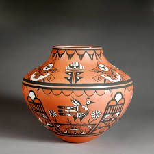 polychrome water jar with bird and sun designs by joseph latoma clay and paint
