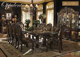 opnte luxury 13 piece formal dining room set china cabinet michael amini aiichaelamini traditional tablechairsets