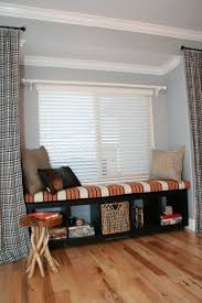 Living Room:Excellent Bay Window Seat With Black Storage And Unique Chair  Idea Easy to