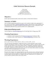 Cable Technician Resume Sample Resume Network Technician Sample Cable Executive Profile Template 24 1