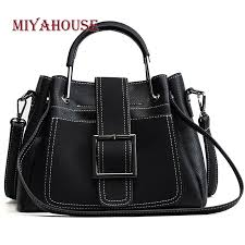 miyahouse western style solid color dull polish pu leather handbag female fashion hasp shoulder bag women casual cross bags leather purse womens purses