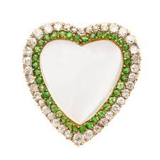 victorian rock crystal demantoid and diamond puffy heart brooch and pendant