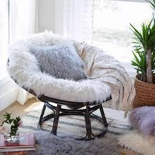 ivory mongolian faux fur papasan cushion v3